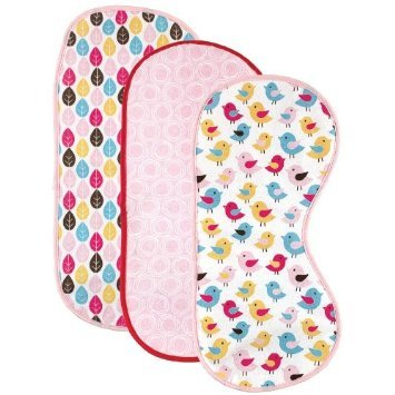 HudsonBaby Curved Burp Cloth, Pink Bird, 3-Count (Multi Color)
