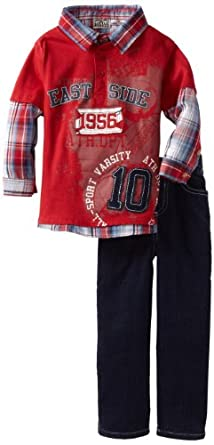Little Rebels Little Boys' 2 Piece East Side 1956 Pant Set, Red, 2T