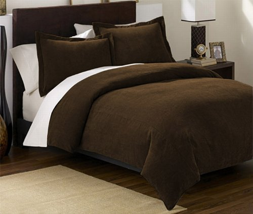 3 Pieces Solid Mocha Brown Soft Microsuede Duvet Cover with Shams Set King Size Bedding