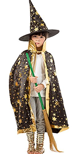 [Boy Girl Kids Children Christmas Halloween Witch Wizard Cloak Gown Robe + Hat (black)] (Girls Light Up Witch Costume)