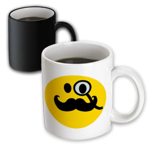 3Drose Fancy Smiley Face With Black Mustache And Monocle Magic Transforming Mug, 11-Ounce