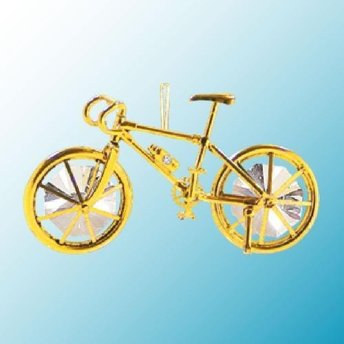 24k Gold Bicycle Ornament – Clear Swarovski Crystal