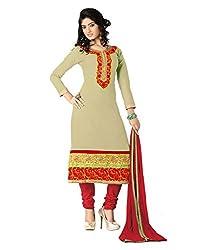 Lookslady Cotton Green Women Clothing Semi Stitched Salwar Kameez Suit