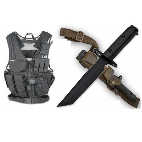 Ultimate Arms Gear Stealth Black Lightweight Edition Tactical Scenario Military-Hunting Assault Vest W/ Right Handed Quick Draw Pistol Holster + Shadow Ops Ar-15 Or M-16 Rifle Heavy Duty Stealth Black Handle Stainless Steel Military M9 M1 Survival Blade B