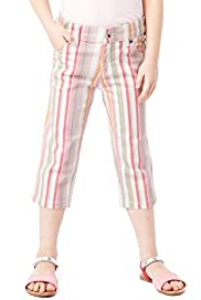 Cotton Rich Adjustable Waist Striped Jeans