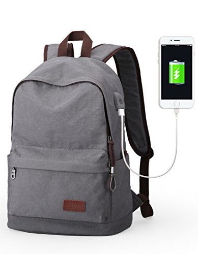 muzee-canvas-backpack-for-school-travel-rucksack-fits-up-to-15-inch-laptop-grayusb