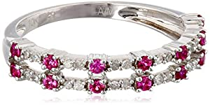 10k White Gold Created Ruby and Diamond Double Row Band Ring (1/10 cttw, H-I Color, I2-I3 Clarity), Size 6