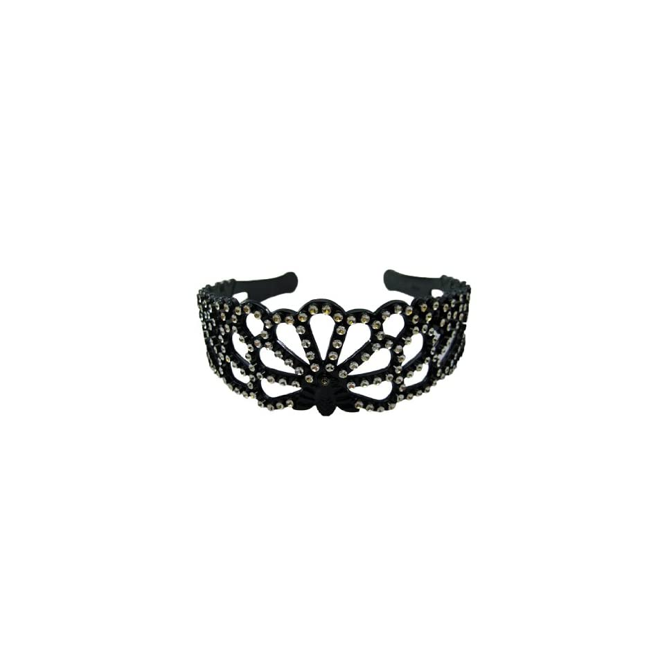 Silver Rhinestone Look Headband Hair Band Black Plastic Peacock, 1 3/4 Wide New