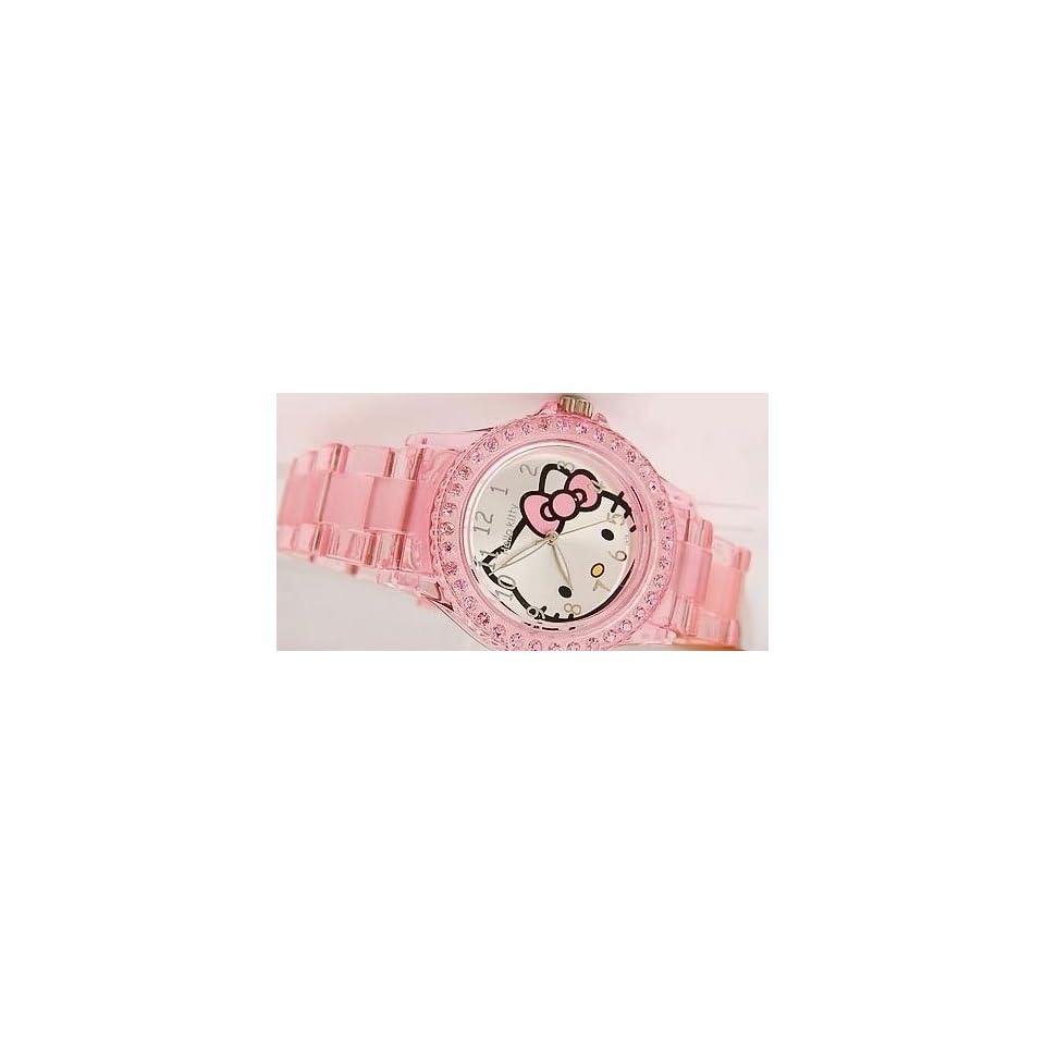 Hello Kitty Transparent Wrist Quartz Watch  Rose Pink   Childrens Size