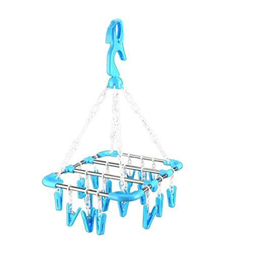 Clothes drying sock underwear travel Hanging Rack Drip Laundry Hanger with 18 Clips (Spacer Heaters compare prices)