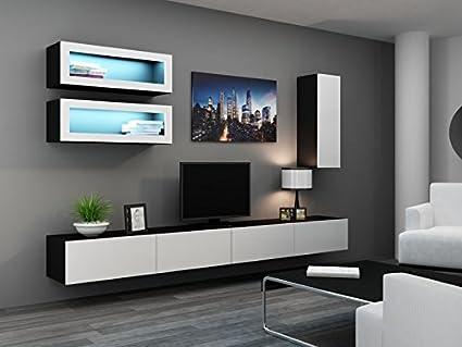 'Vigo Full III Wall Unit High-Gloss Wall Cupboard Cabinet Glass Door Cabinet schwarz matt / weiß Hochglanz