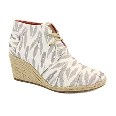 Toms Ikat Desert Wedges Womens Laced Textile Wedges Grey - 8