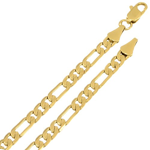 4Mm Gold Plated Figaro Link Chain Necklace, 22 Inches