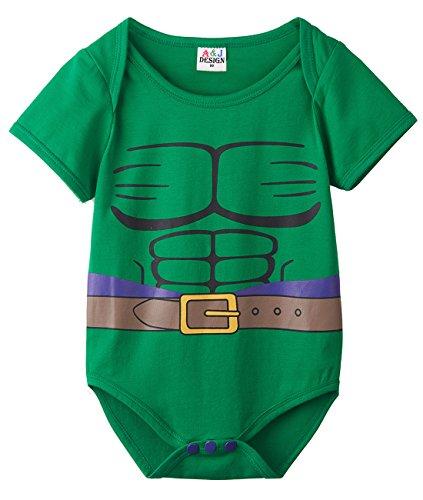 A&J Design Baby Boys' Green Hulk Short Sleeve Onesie