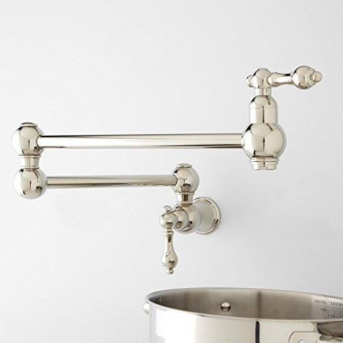 "New 21"" Pot Filler, Wall Mount, Classic, Traditional, Vintage, Retractable, Double Joint Spout,..."