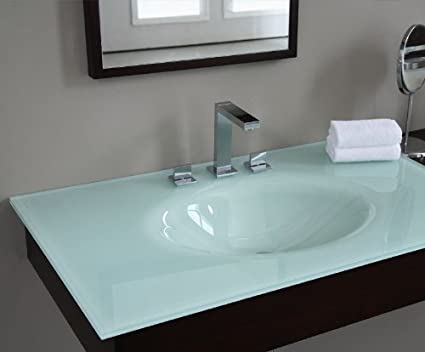 "37"" Vanity Top with Oval Bowl Top Finish: White"