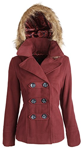 Dollhouse Womens Classic Wool Blend Dressy Winter Pea Coat With Detachable Hood - Brandy Wine (Size 1X)