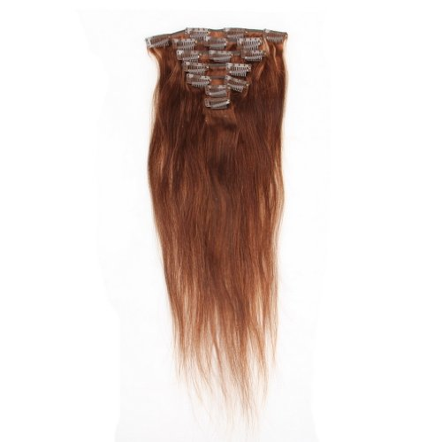 Decus Echthaar Clip in Extensions Remy Haarverlängerung glatt Straight Clip On Hair (14 inch 70g, #2 Dark Brown)