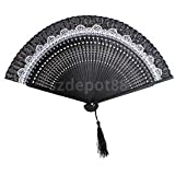 Vintage Silk Bamboo Flower Folding Pocket HAND FAN Wedding Party Props