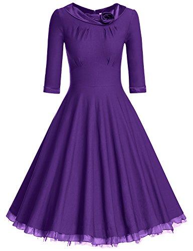 MUXXN Ladys 1950s Rockabilly 3/4 Sleeve Swing Vintage Dress (L, Violet1)