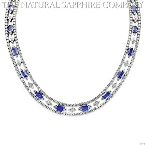 18k White Gold Necklace with 29.98ctw Emerald Cut Sapphires and 24.92ctw Diamonds (J3779)