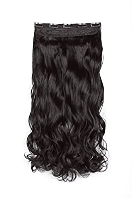 "SWACC 20"" Women 3/4 Full Head Instant One Piece Curly Body Wave Heat Resistance Synthetic Clip in Hair Extension"