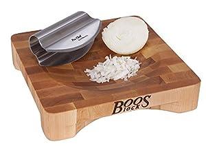 John Boos 10 by 10 by 2-Inch Mezzaluna Herb Board with Stainless Steel Rocker Knife
