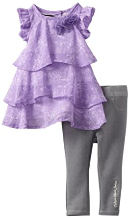 Calvin Klein Baby-girls Infant Tunic with Pants, Lilac, 18 Months