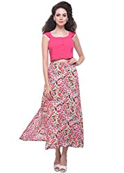 Floral Maxi Skirt With Front Slits
