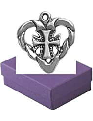 Sterling Silver Cross My Heart Charm Gift Boxed Passion Jewelry Pendant