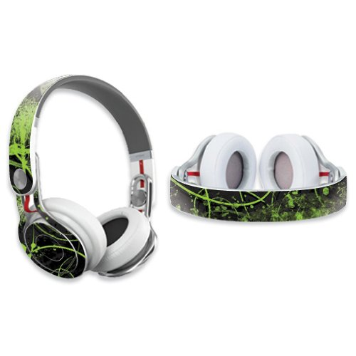 Mightyskins Protective Vinyl Skin Decal Cover For Dr. Dre Beats Mixr Headphones Sticker Skins Green Distortion