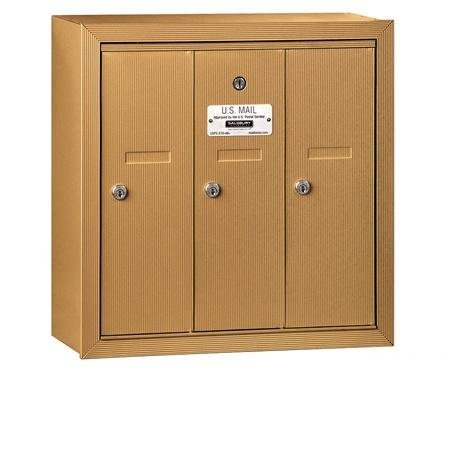 Vertical Mailbox (Includes Master Commercial Lock) - 3 Doors - Brass - Surface Mounted - Private Access