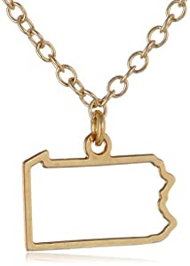 "Kris Nations ""State Pride"" Pennsylvania Small State Outline 14k Gold Overlay Necklace, 18"""