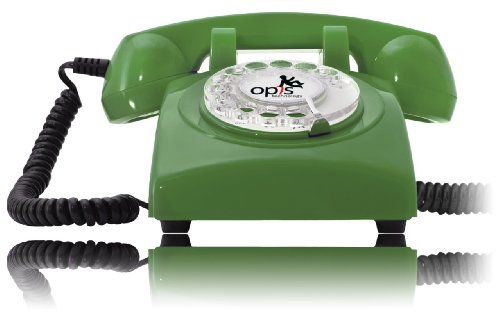 Opis 60S Cable: Designer Retro Phone / Rotary Dial Telephone / Retro Style Phone / Vintage Telephone / Classic Desk Phone With Rotary Dialler (Green)