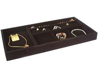 Inch wide velvet jewelry tray black for Velvet jewelry organizer trays
