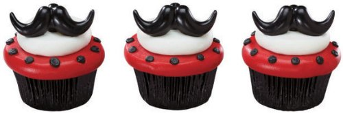 24 ct - Fun Mustache Stache Bash Cupcake Rings Toppers Party Favors
