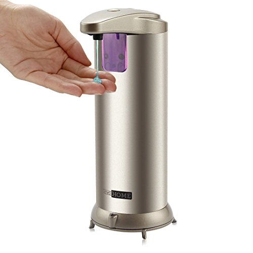 VIVOHOME Premium Stainless Steel Automatic Touchless Sensor Soap Dispenser With Removable Waterproof Stand, 8.5 oz, Champagne