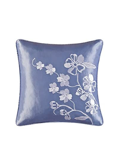 Mazarine Embroidered Pillow, Blue/White