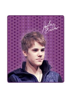 Justin Bieber Throw Blanket - Justin Bieber Purple Polka Dot Throw Fleece Blanket