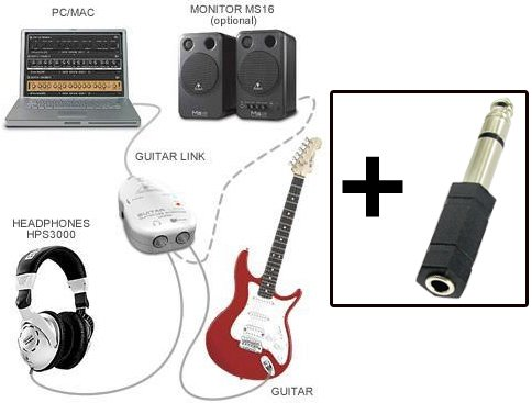 Guitar Link Interface To Usb Cable - Turning Your Pc/Mac Computer Into An Amp, Or Recorder, And A 1/4-Inch / 3.5Mm Adapter