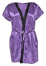 Le Fantasia Women's Satin Dressing Gown (Purple, Large)