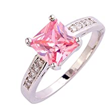 buy Psiroy 925 Sterling Silver Grace Womens Band Charms Gorgeous 8Mm*8Mm Princess Cut Pink Topaz Filled Ring