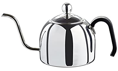 Zell Gooseneck Drip Kettle for Pour Over Coffee and Tea, Fully Stainless Steel Interior, Stovetop Safe, 40-Ounce