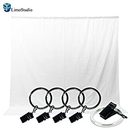 LimoStudio Photo Video Photography Studio 5x10ft White Muslin Backdrop Background Screen with 5x Backdrop Holder Kit, AGG1336