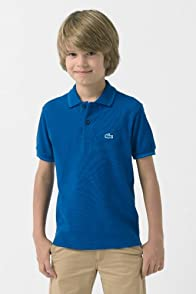 Boy's Short Sleeve Pique Polo with Tipping and Neon Croc