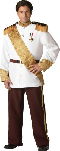 InCharacter Costumes, LLC Prince Charming Military Style Jacket, White/Burgundy/Gold, XX-Large