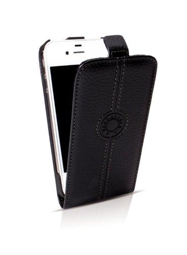 Faconnable in pelle con aletta per Apple iPhone 5/5S, colore: nero
