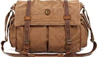 "SERBAGS Brown Military Style Messenger Bag - 15"" LAPTOP"