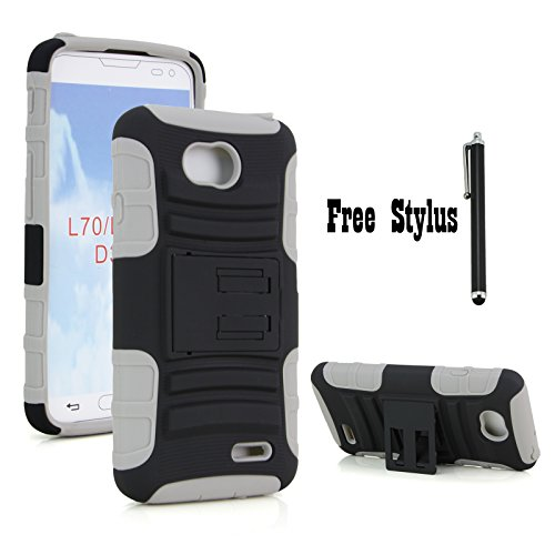 Anti-shock and Bump Dual Layer Case With Kickstand for LG Optimus L70 VS450 (Metro PCS) / LG Realm LS620 (Boost Mobile) / LG Optimus Exceed 2 W7 (Verizon) / LG Pulse LS620Y / LG Ultimate 2 L41C (Black and Gray) (The Little Penguin Inc compare prices)