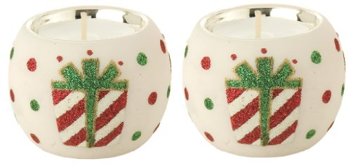 October Hill 2-Inch Hand Painted Glass Tealight Candle Holders, Gift Box, Set of 2